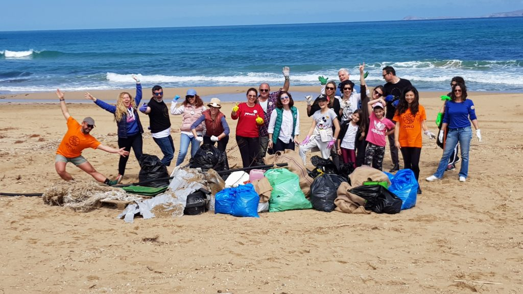 OMU team lets do it Greece Arena beach cleaning
