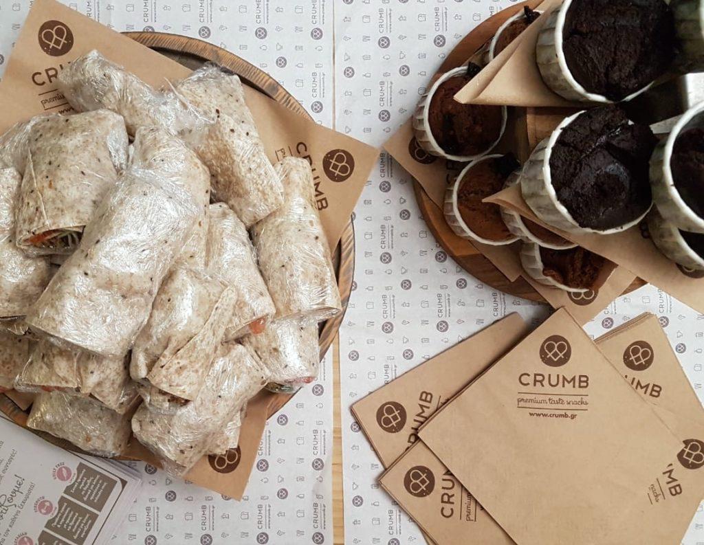 Office warming Crumb vegan wraps muffins